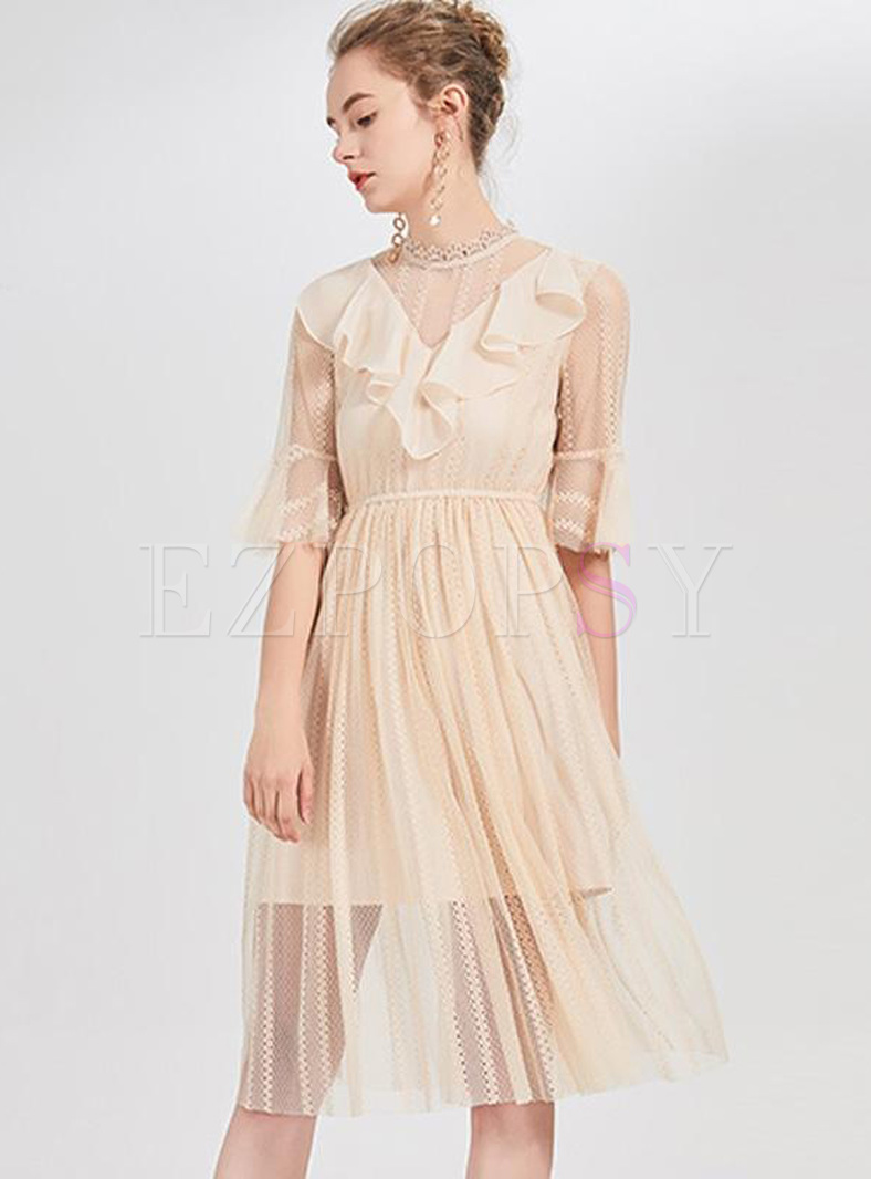 Contrast Solid Color Half High Neck Flare Sleeves Pleated Dresses