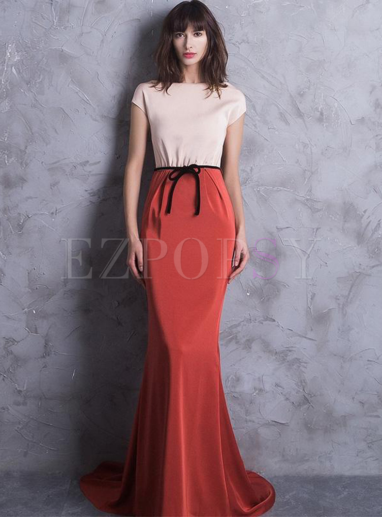 Stylish Stitching Color Block Short Sleeves Sexy Slim Tailing Evening Dresses