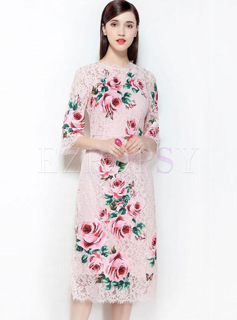 Lace Printing O-Neck Seven-Tenths Sleeves Dresses
