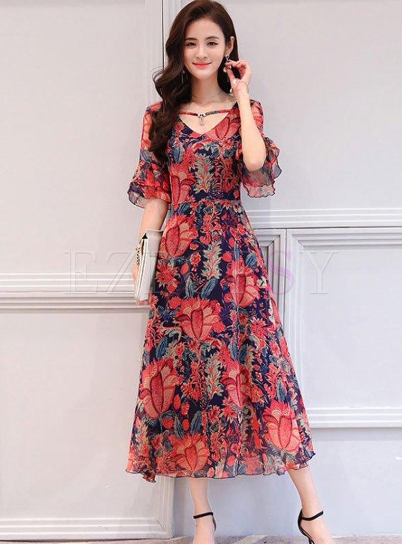 Printing Short Sleeves Flare Sleeves Chiffon Dresses