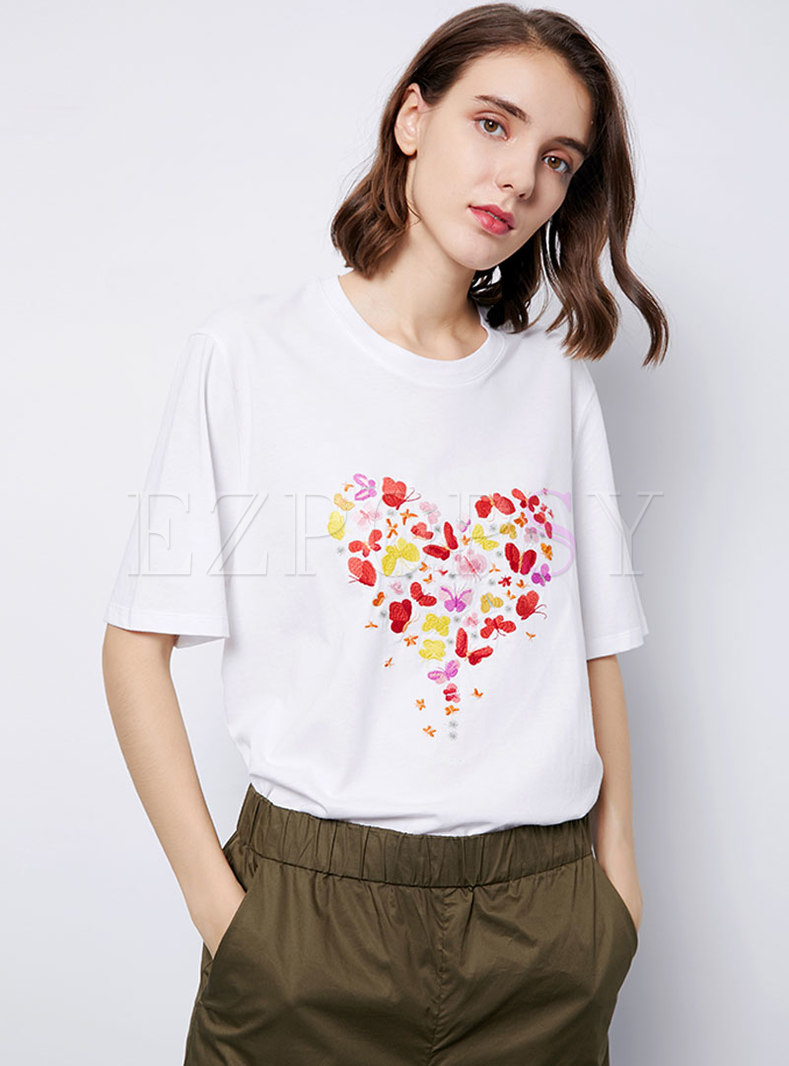 Loose O-neck Print Cotton Daily T-shirt