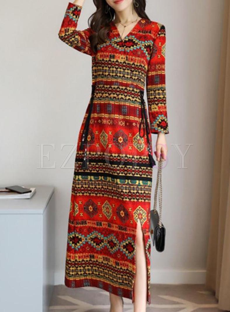 Printing V-Neck Long Sleeves Maxi Dresses