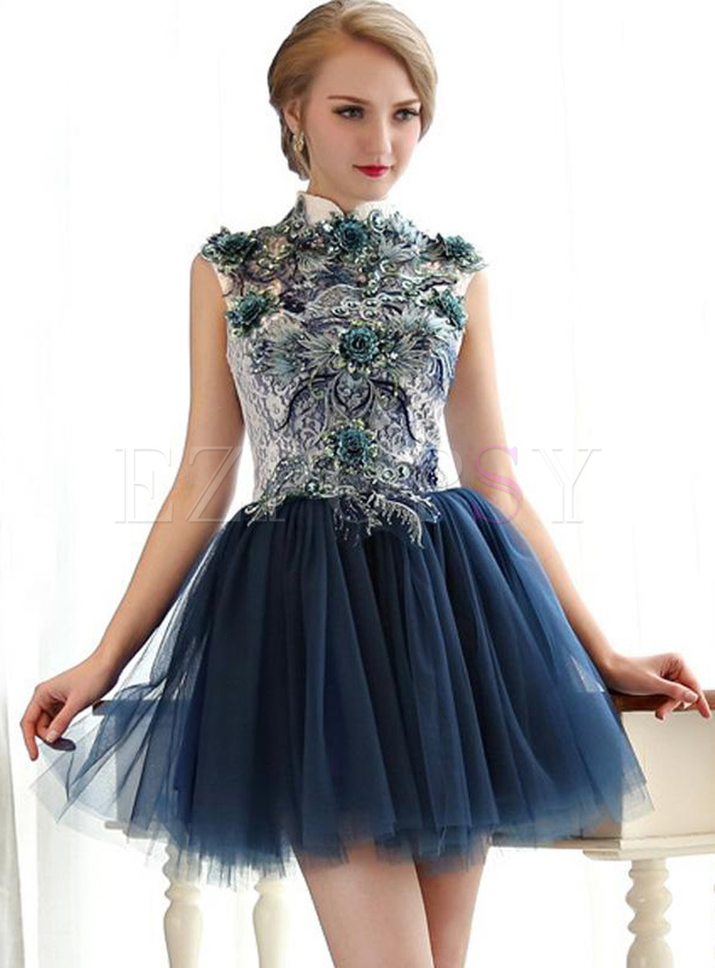 Embroidery Flower Sequined Contrast Stand Collar Mini Prom Dresses