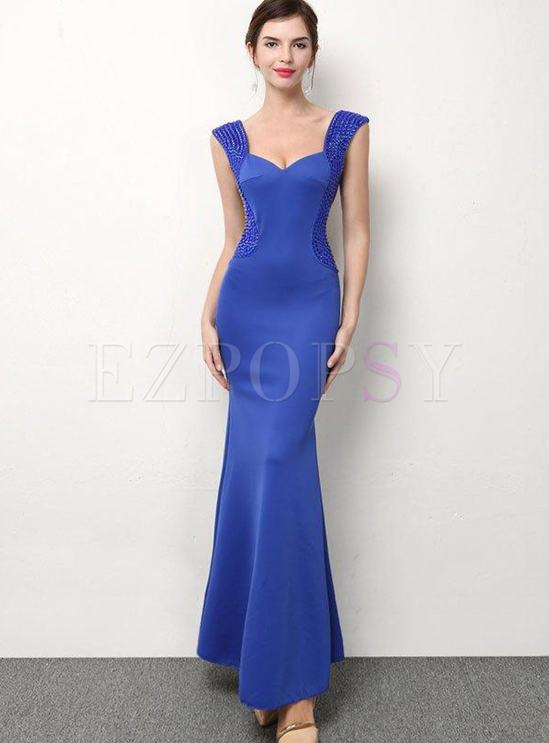 Sequined Contrast Solid Color Deep V Neck Sleeveless Sheath Evening Dresses