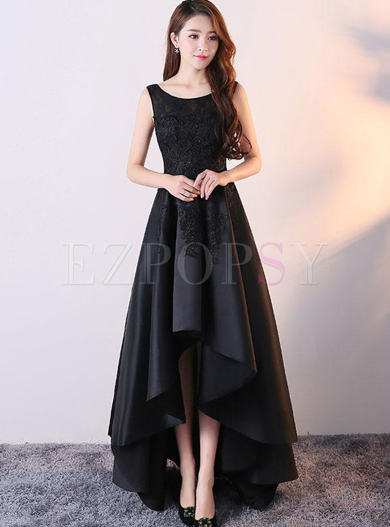 Lace Hollow Out Contrast Solid Color O-Neck Sleeveless Prom Dresses