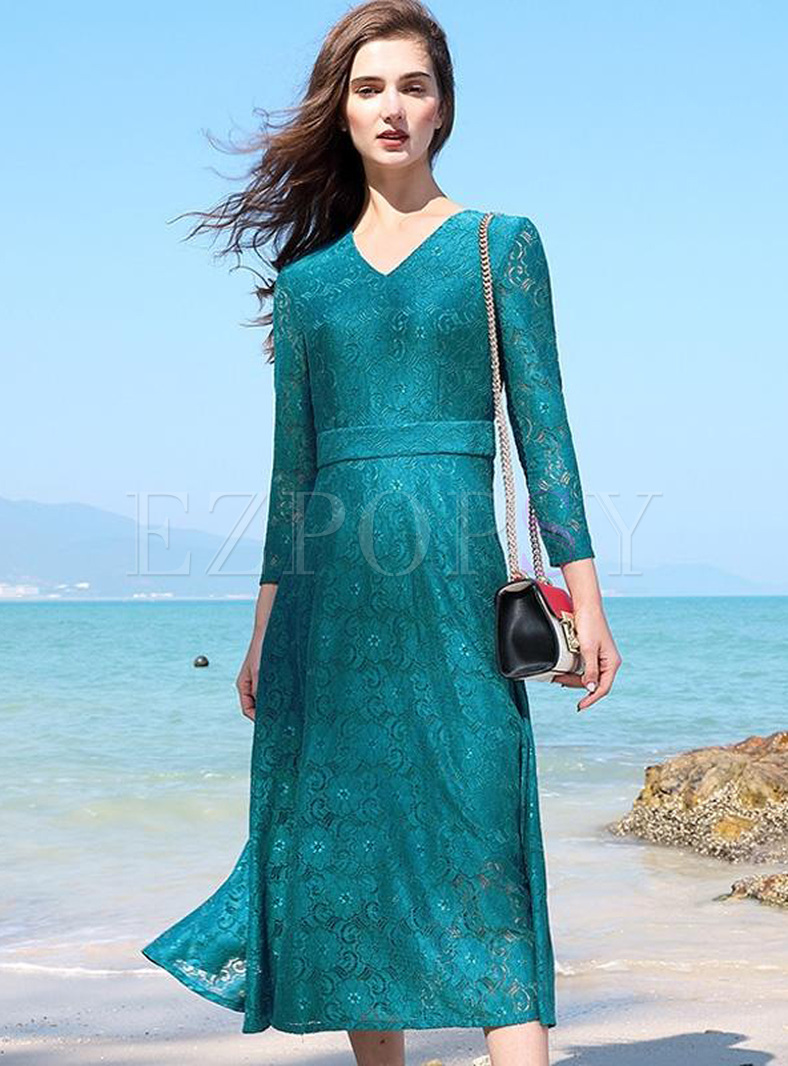 Lace Solid Color V-Neck Seven-Tenths Sleeves Long Dresses