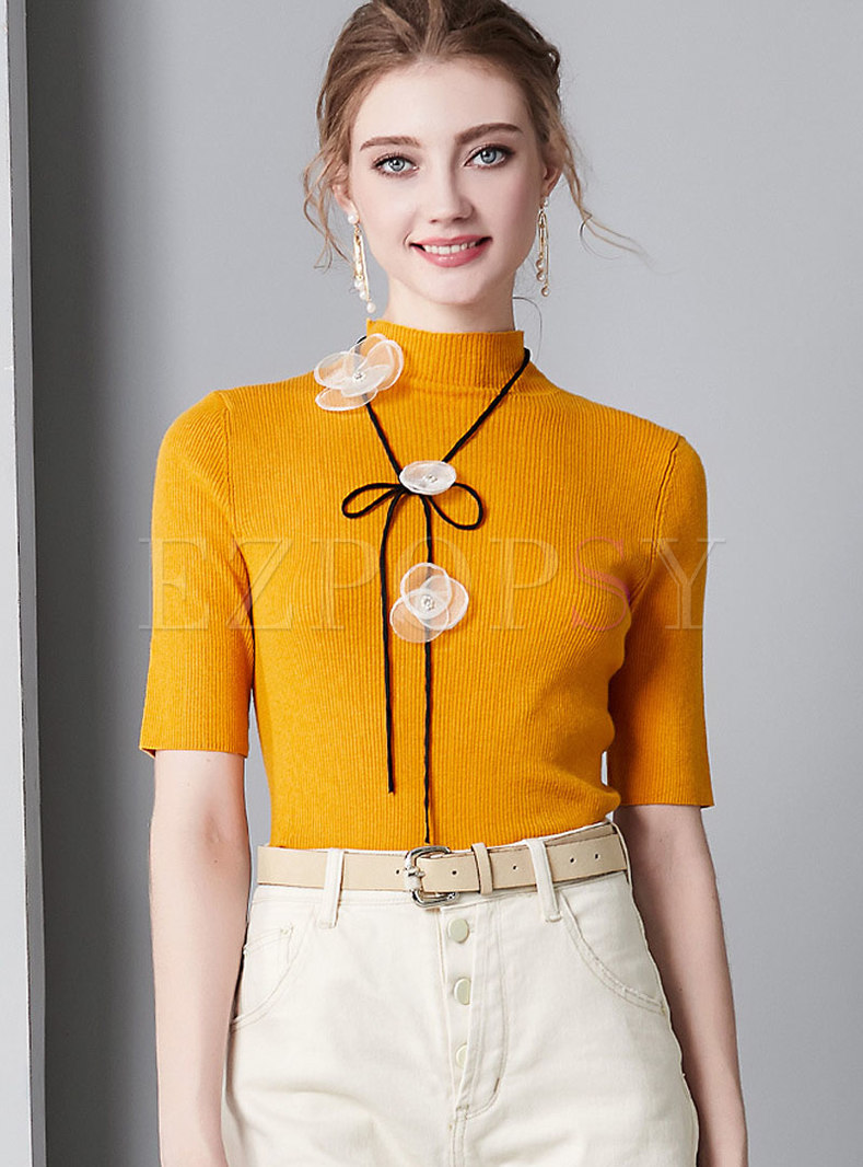 Stylish Half High Collar Slim Daily Sweater