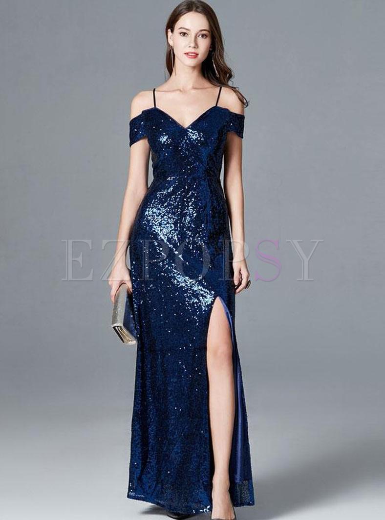 Sequin Slash Neck Sleeveless Blue Maxi Dresses