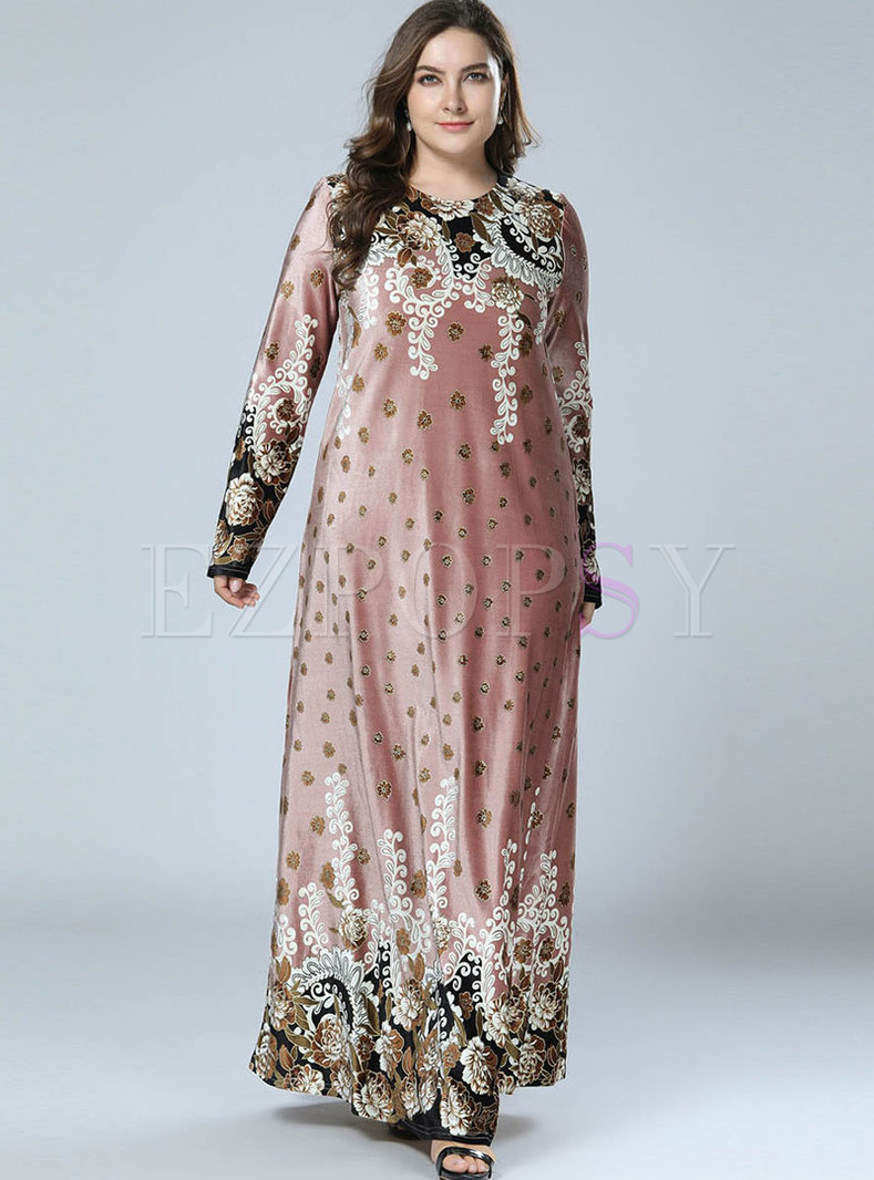 Stylish Print Big Hem Gold Velvet Long Sleeve Maxi Dress