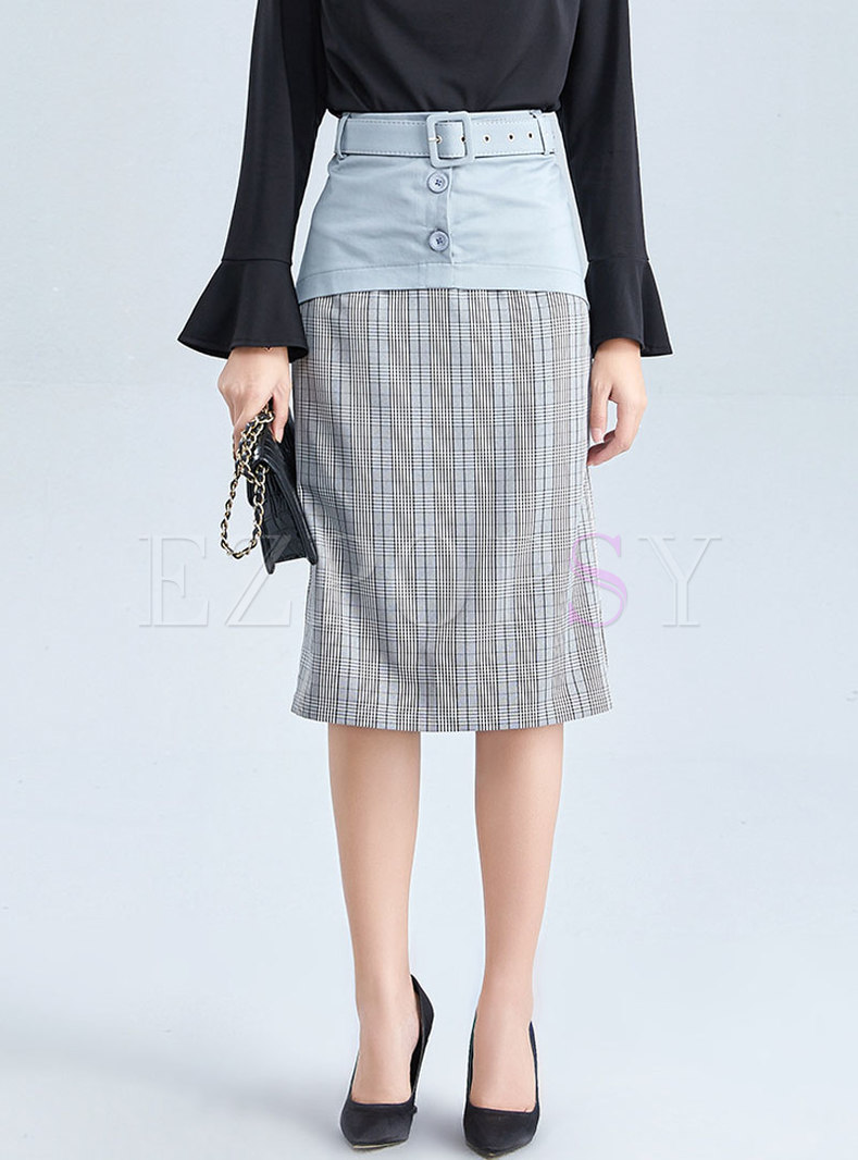 Chic Color-blocked Splicing Plaid Skinny Skirt