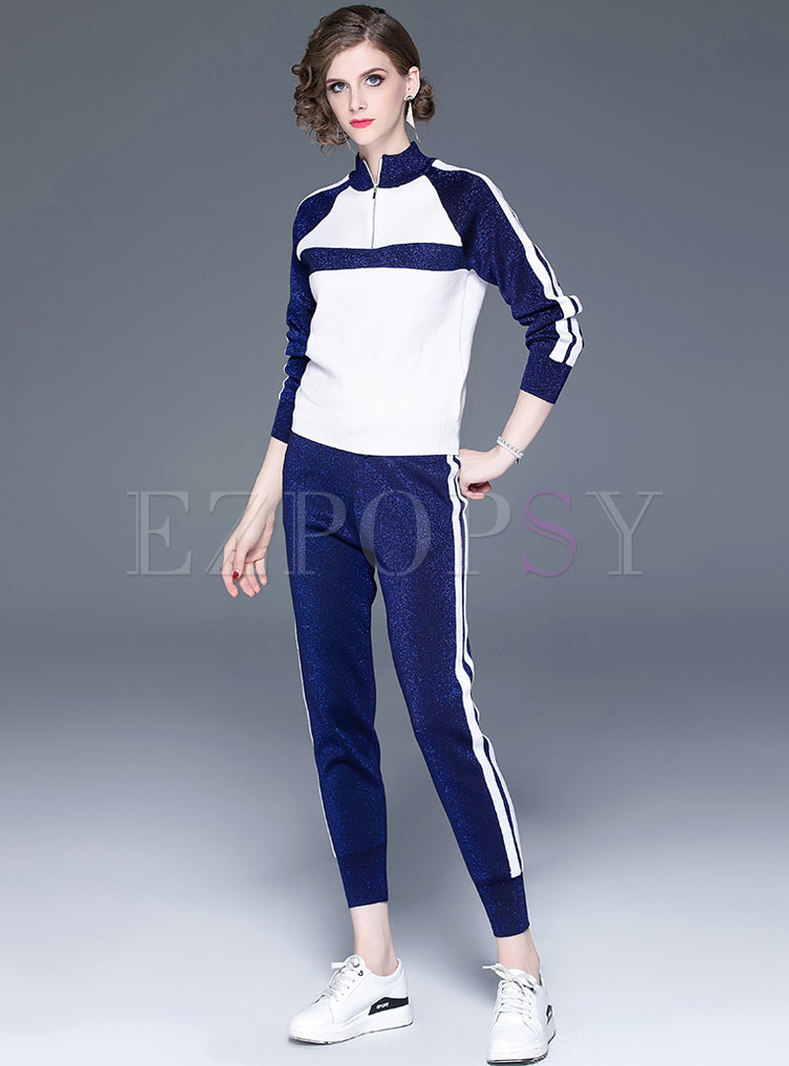 Color-blocked Striped Splicing Knitted Two Piece Pants