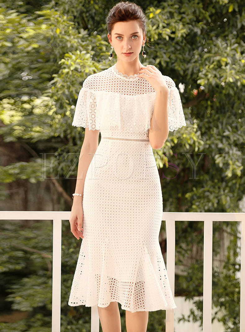 Pure Color Lace Bodycon Peplum Dress