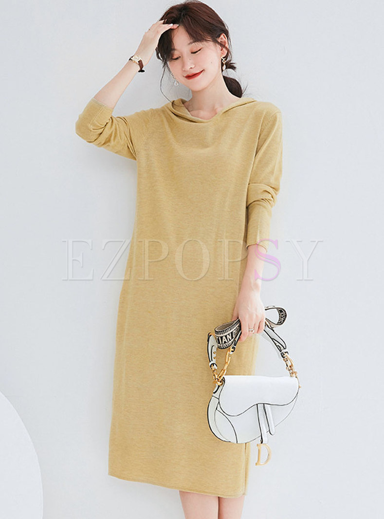Brief Pure Color Hooded Split Knitted Dress