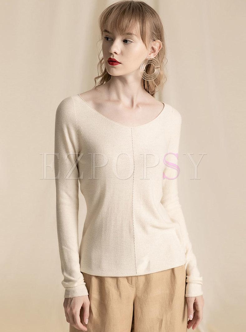Solid Color V-neck All-matched Slim Sweater