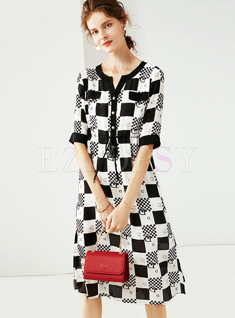 Trendy Plaid Color-blocked Silk Skater Dress
