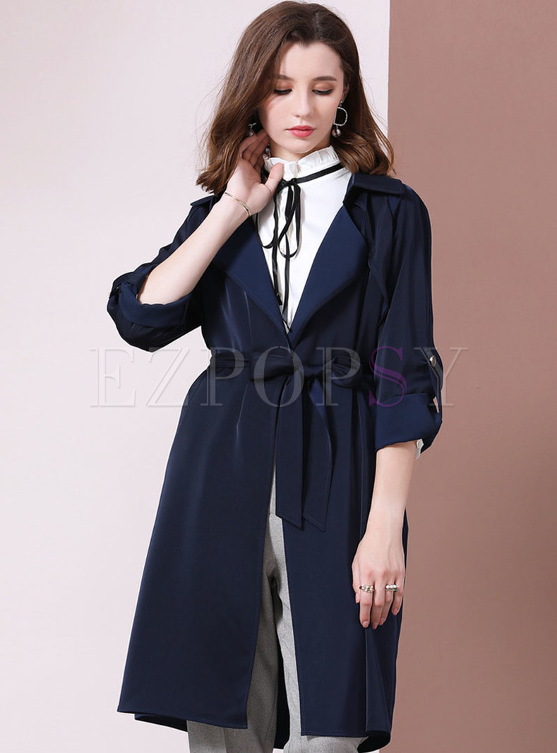 Solid Collar Lapel Slim Tied Thin Trench Coat