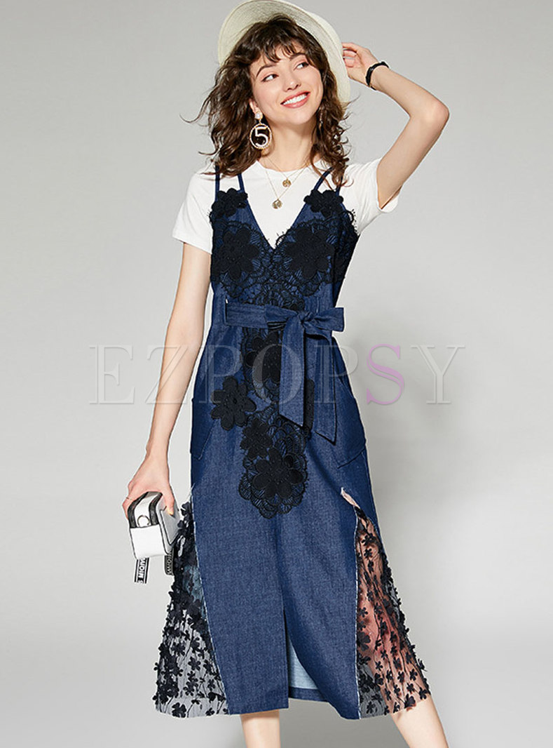 Brief White T-shirt & Denim Splicing Lace Dress