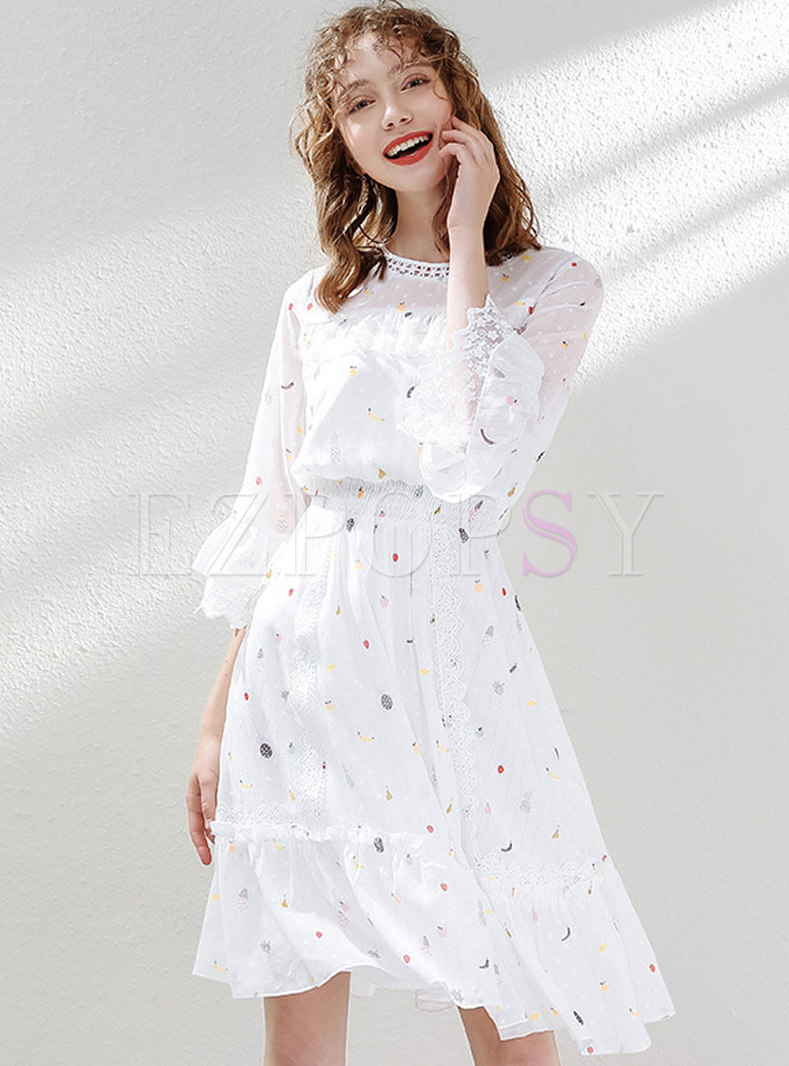 Chiffon Sweet Print Flare Sleeve Skater Dress