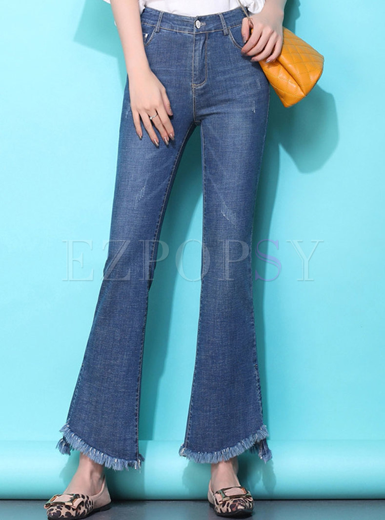 Brief Asymmetric Denim Rough Selvedge Flare Pants