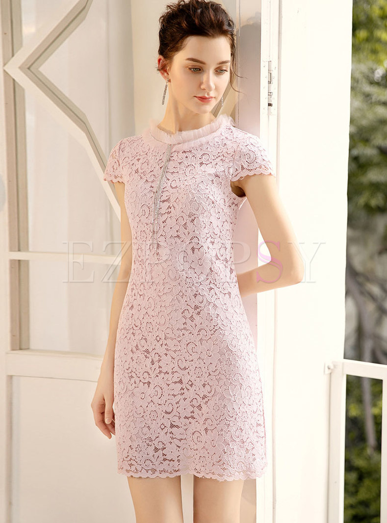 Stylish Diamond Gathered Waist Slim Lace Sheath Dress
