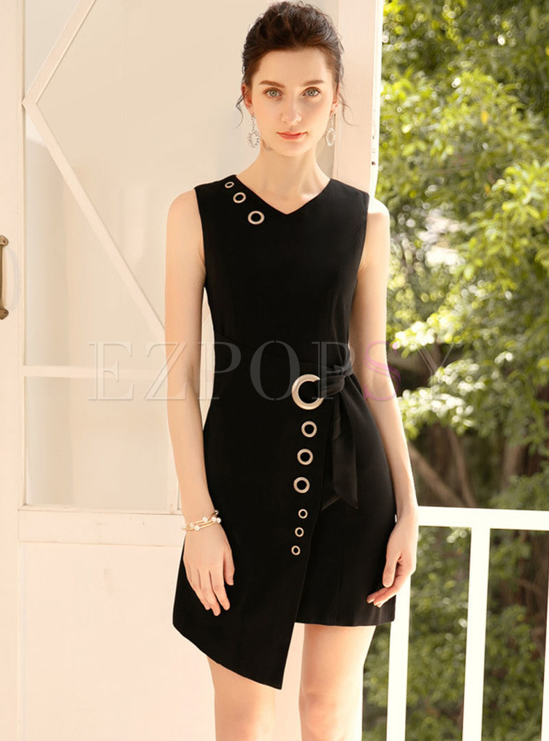 Elegant Black V-neck Sleeveless Irregular Bodycon Dress