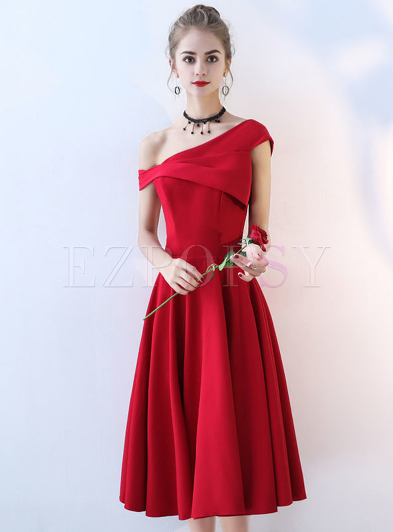 Solid Color Slash Neck Sleevesless Long Dresses