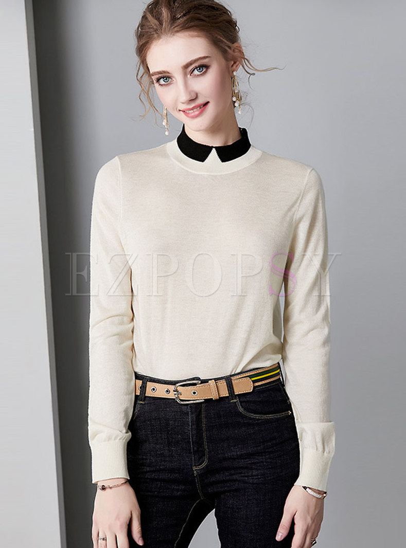 Color-blocked Stand Collar All-matched Sweater