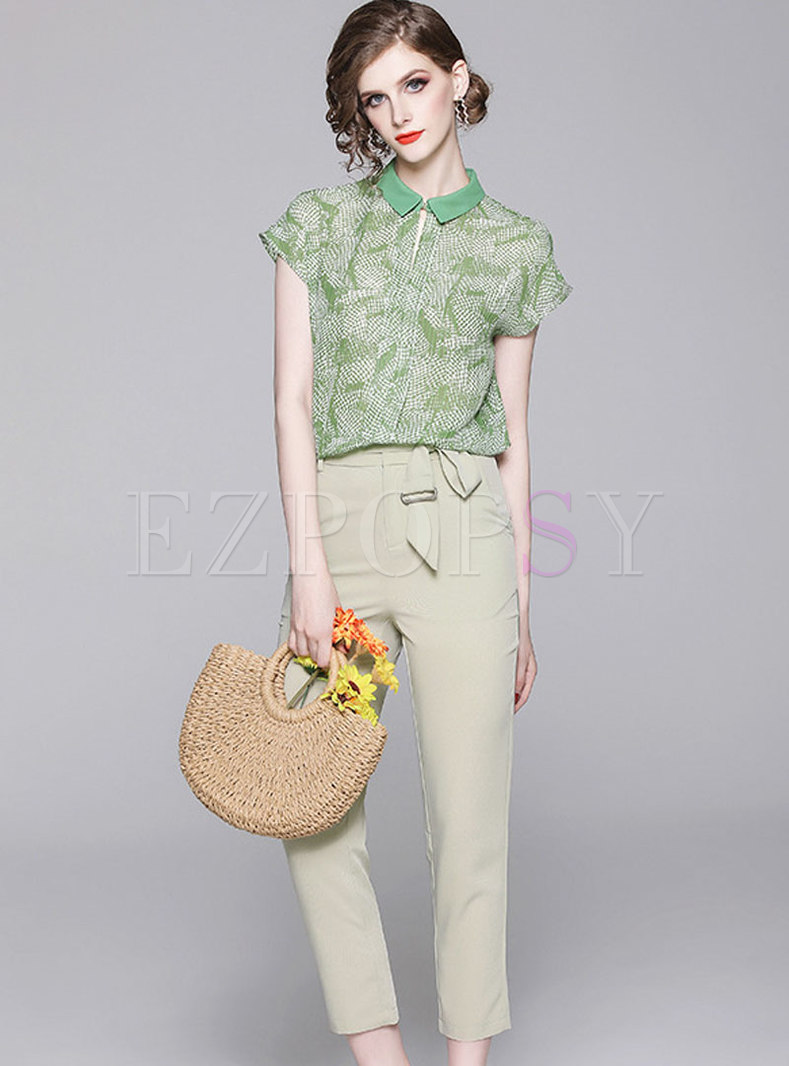 Casual Lapel Print Chiffon Blouse & Pure Color Belted Pants
