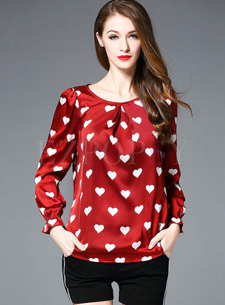 O-neck Long Sleeve Heart Print T-shirt