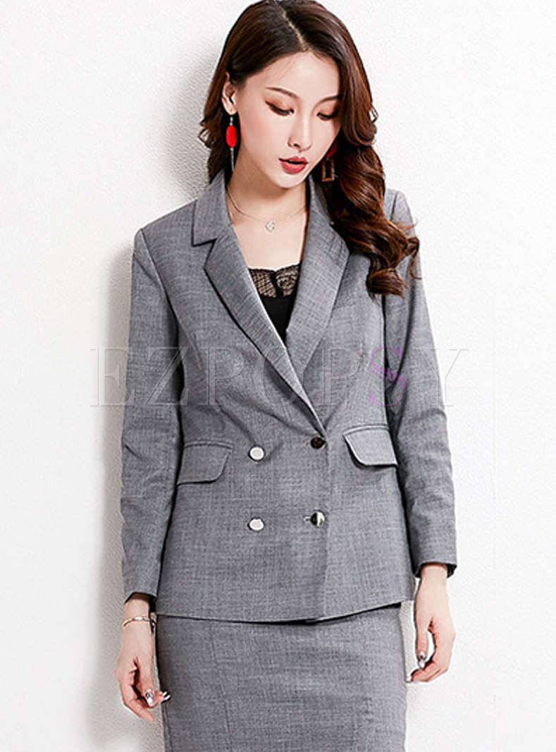 Notched Long Sleeve Slim Blazer