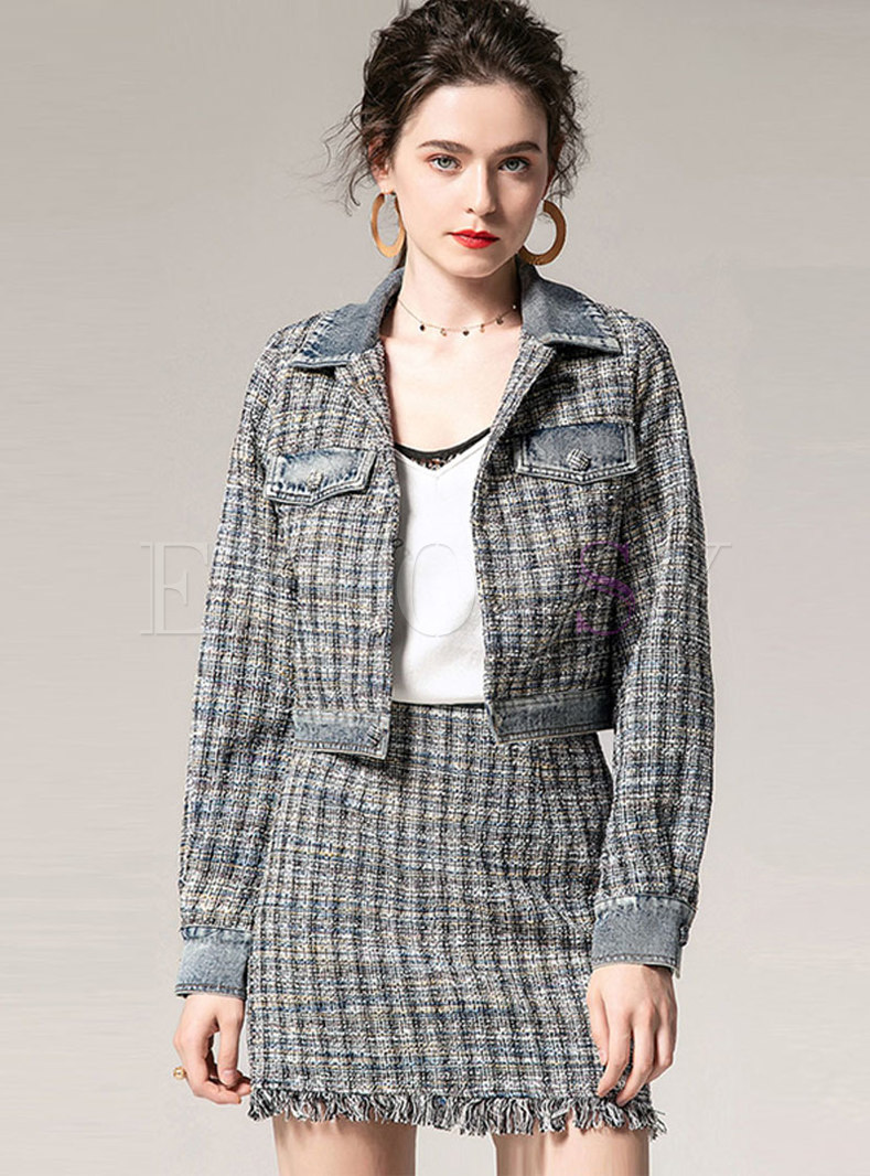 Lapel Plaid Slim Two Piece Outfits