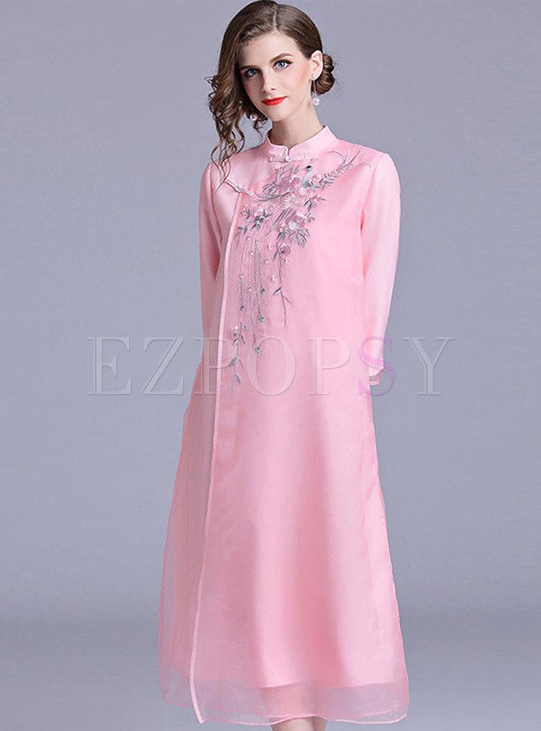 Retro Mandarin Collar Cheongsam Dress