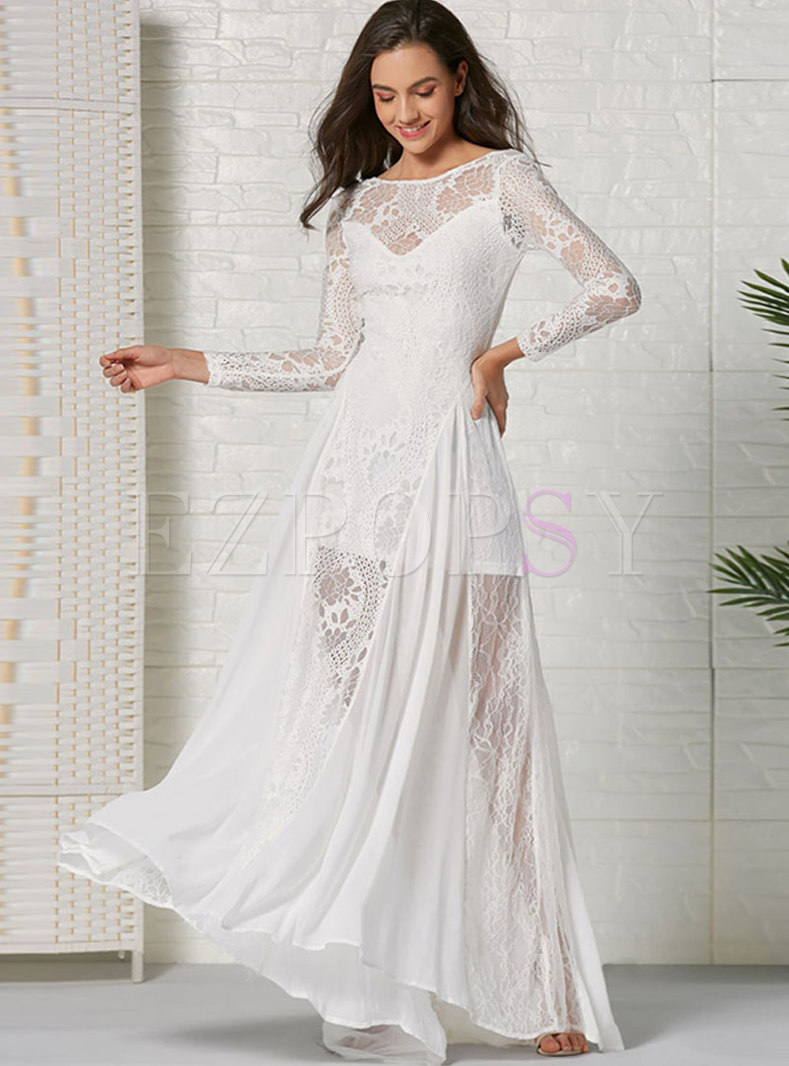 Chiffon Lace Big Hem Maxi Dress