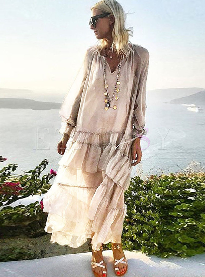 Bohemian V-neck Falbala Patchwork Shift Dress
