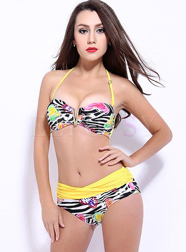 Sexy Halter High Waisted Print Bikini