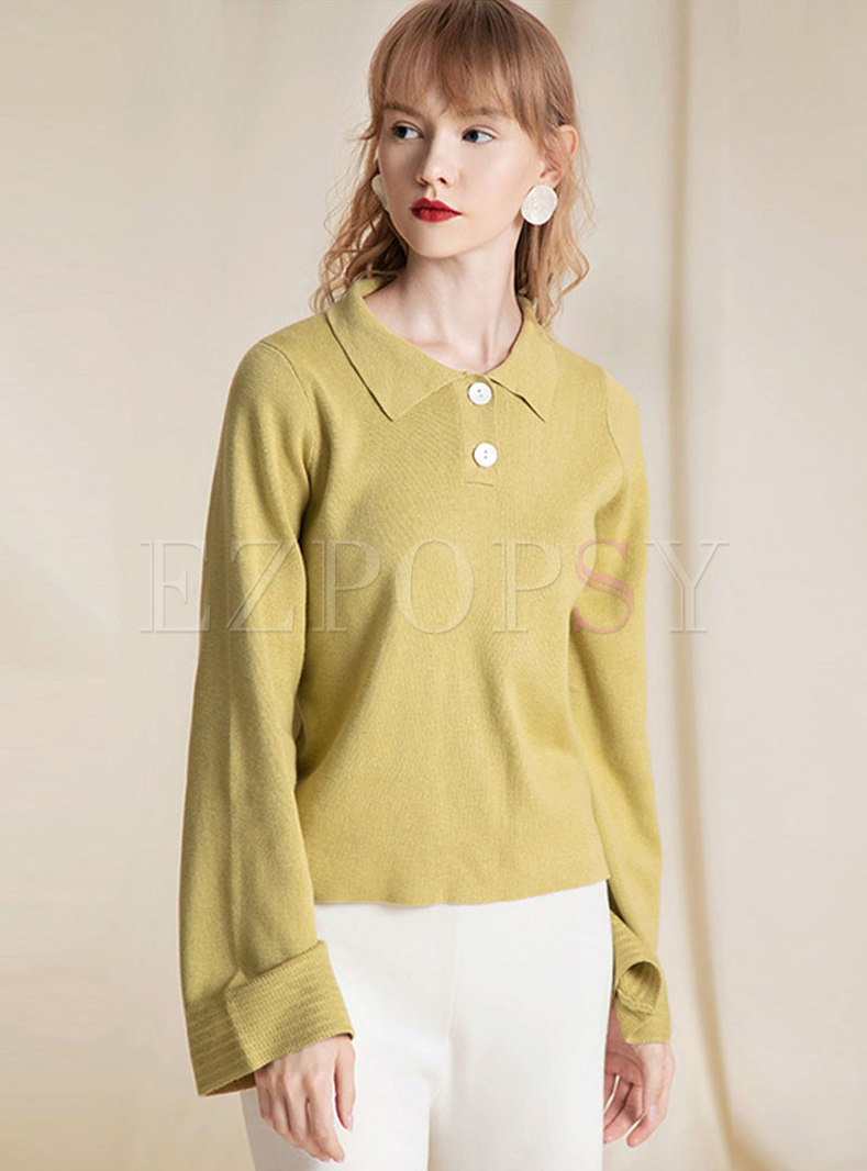 Brief Turn Down Collar Loose Sweater