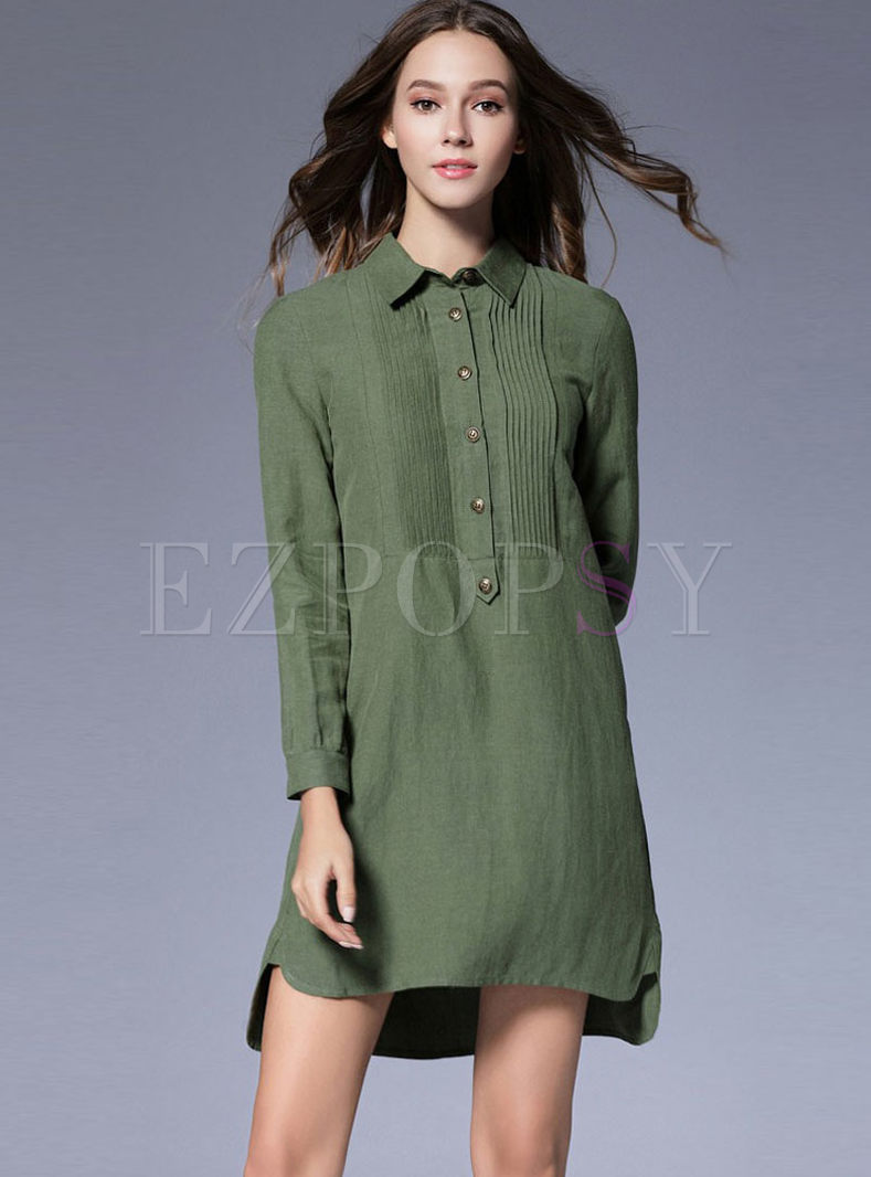 Lapel Long Sleeve Irregular Hem Dress