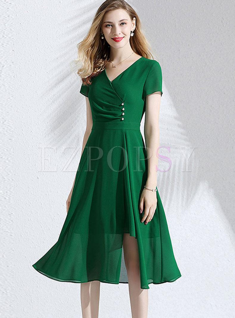 Green Short Sleeve Irregular Slit Dress