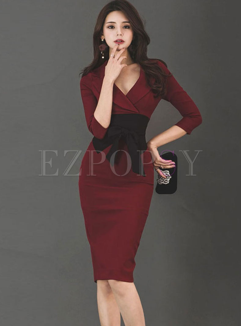 Lapel 3/4 Sleeve Empire Waist Dress