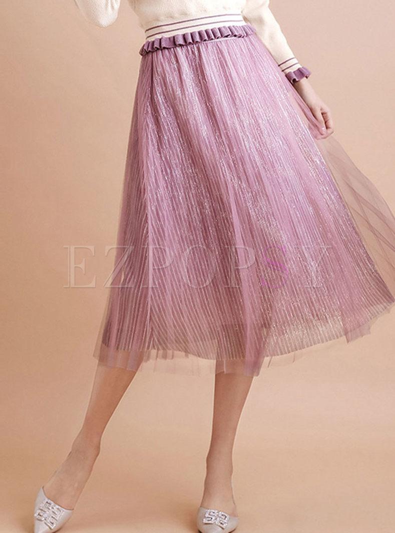 Elastic High Waisted Pleated Skirt