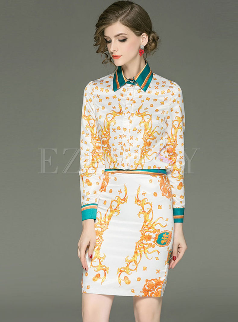Color-blocked Lapel Print Two Piece Outfits