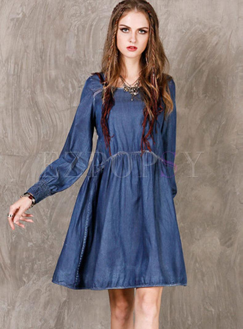 Retro O-neck Long Sleeve Denim Dress