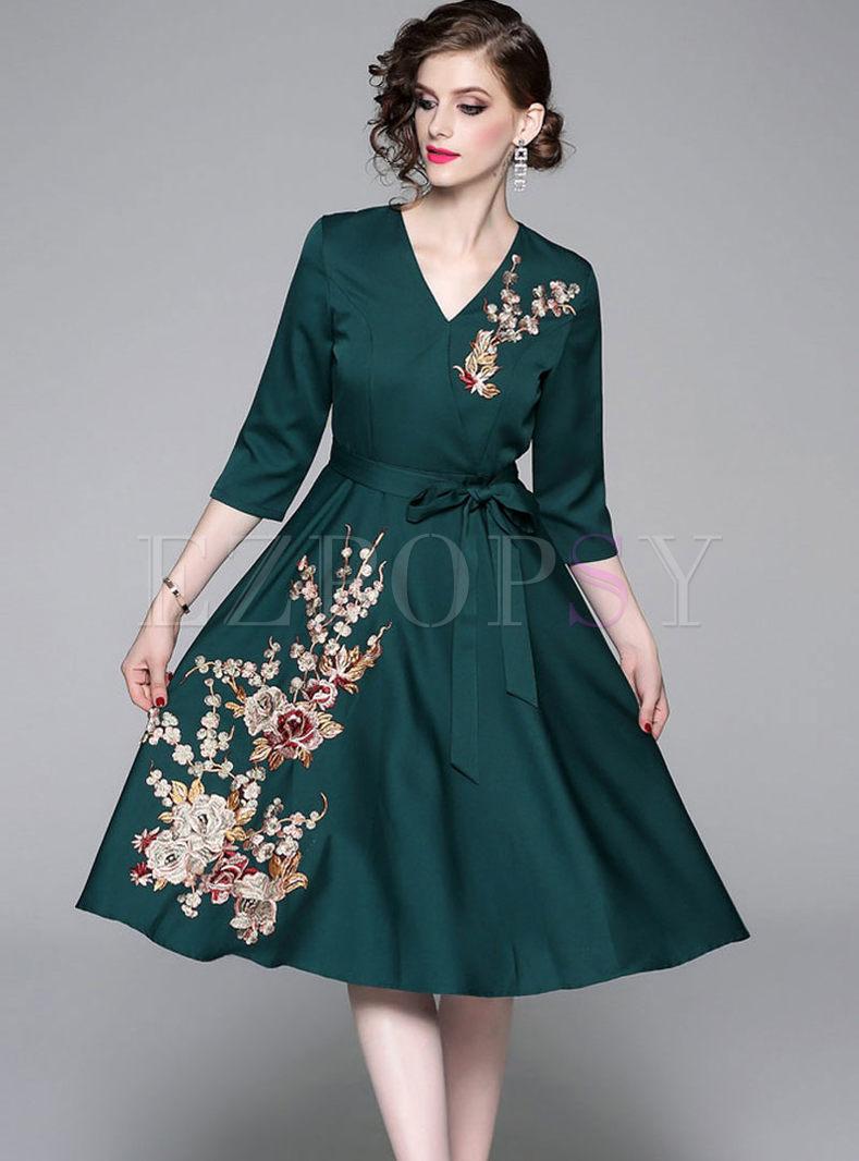 V-neck Embroidered A Line Dress