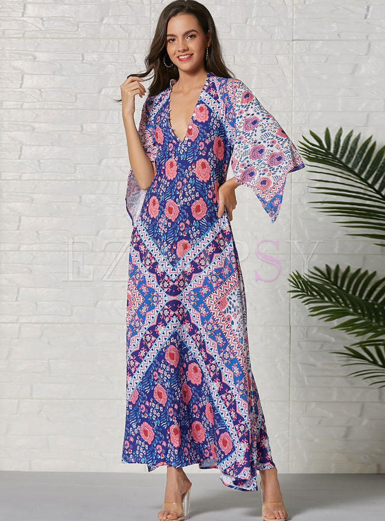 Bohemian Print Half Sleeve Maxi Dress