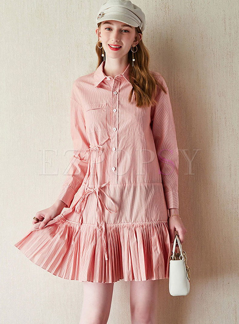 Casual Lapel Striped Shirt Dress