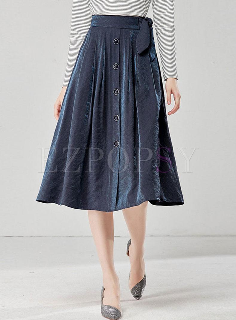 High Waisted Bowknot A Line Skirt