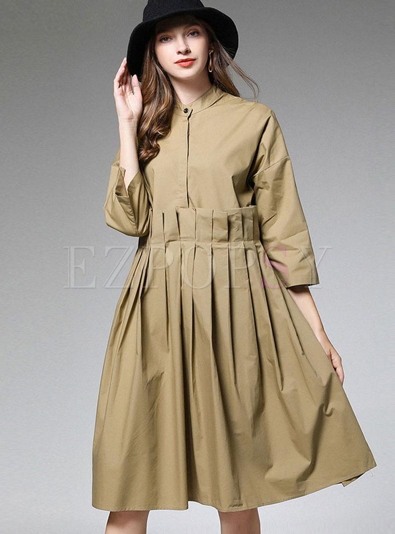 Plus Size 3/4 Sleeve Pleated Dress