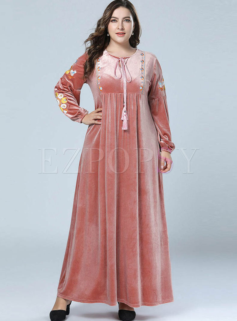 Pink Embroidered Velvet Maxi Dress