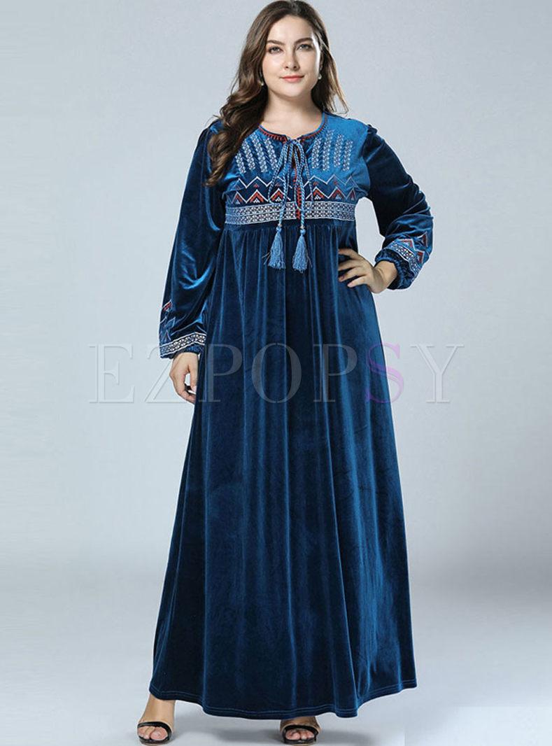 Plus Size Embroidered Velvet Dress