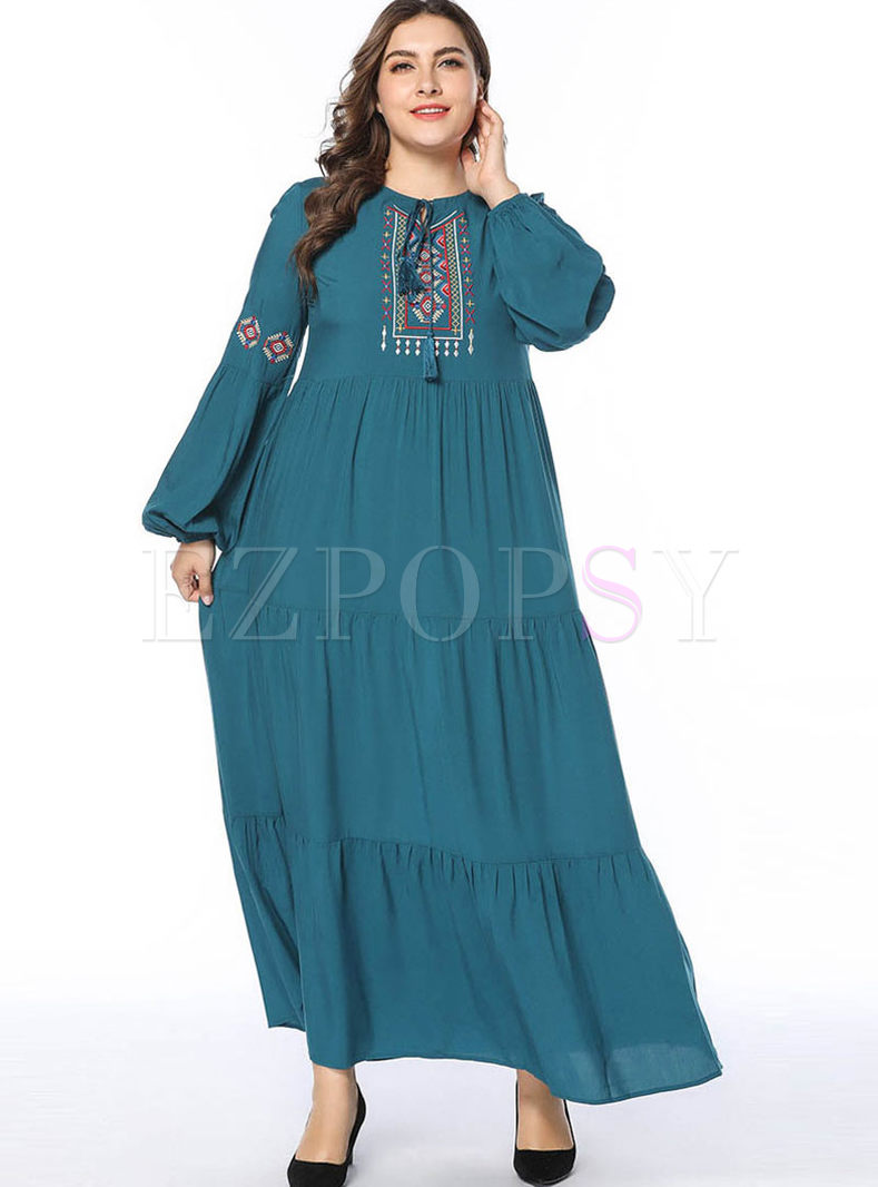 Plus Size Lantern Sleeve Maxi Dress